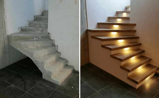 Je betonnen trap bekleden met hout kan perfect upstairs traprenovatie - Moderne betonnen trap ...